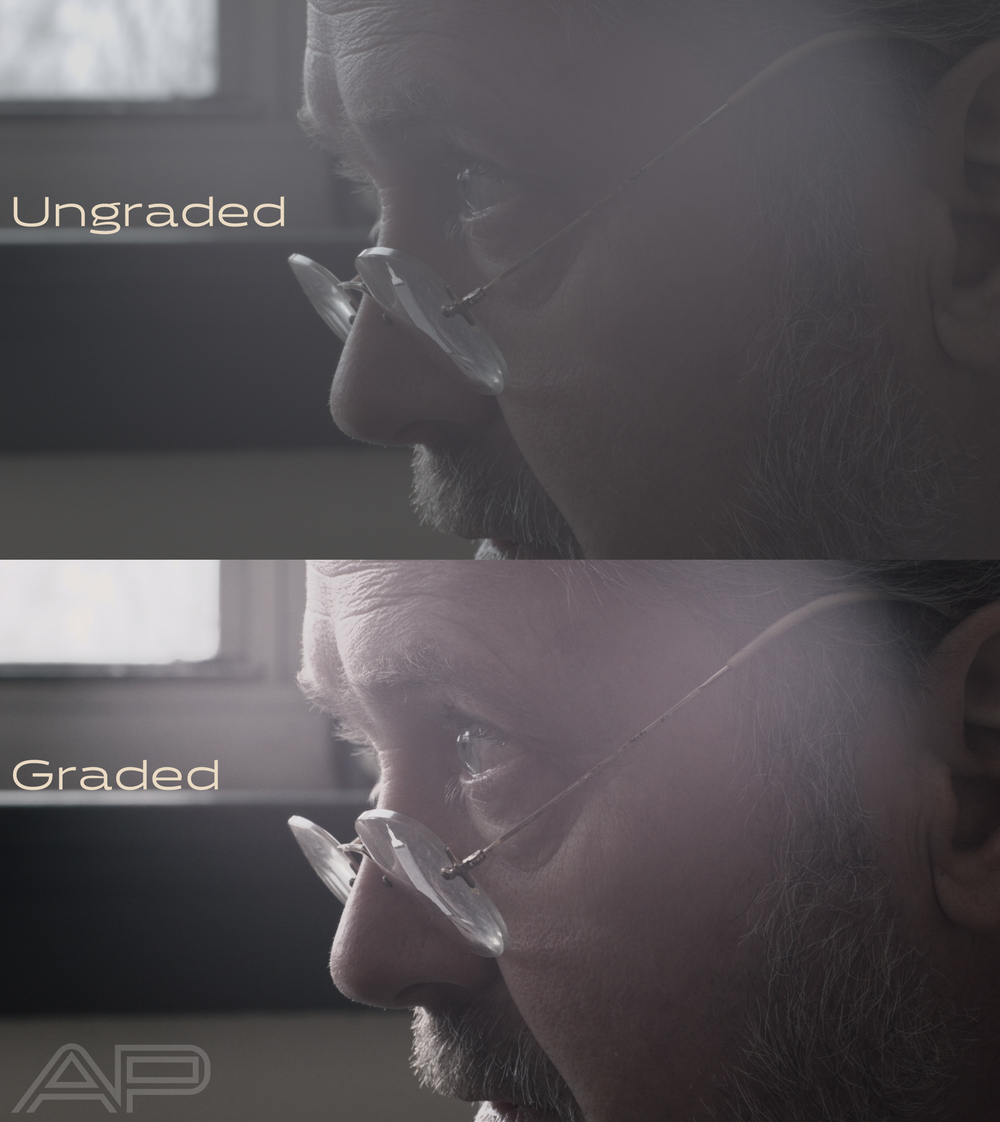 """The top image is the """"Log"""" image. It's flat, and hasn't had any adjustments or LUTS applied. The bottom image is corrected, and has the BMCC DNXHD LUT applied, along with some other minor creative adjustments."""