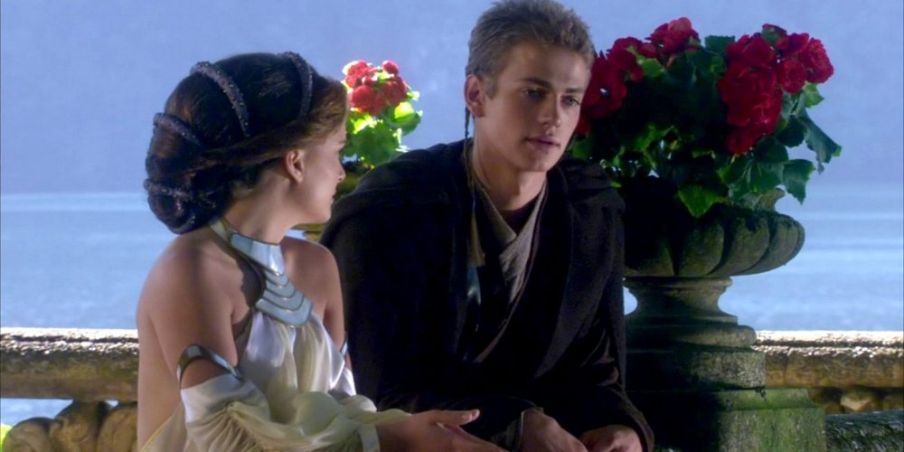 In Attack of the Clones (2002), this often parodied scene is a perfect example of clunky and inconsequential dialogue.