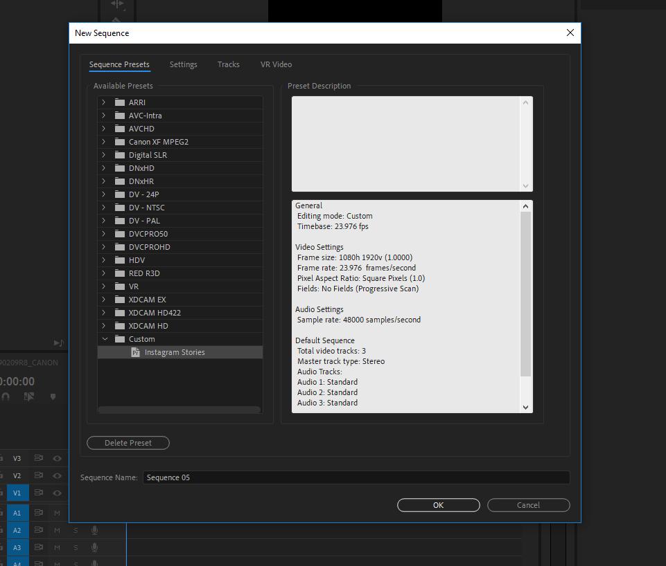 Sequence presets save you time, and make sure your edit environment is consistent across your team.