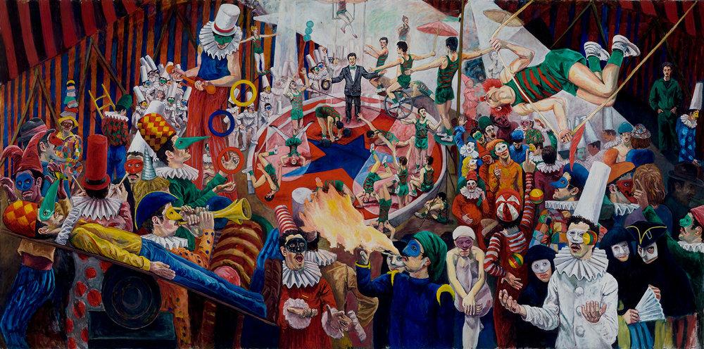 CARLO PITTORE.  La Buffonera.  8' x 17'. Oil on canvas. 1983. © International Artists Manifest  PHOTO CREDIT: Jay York