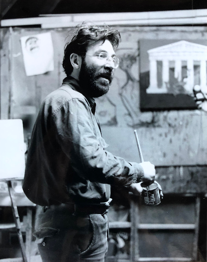 """LEFT: Carlo Pittore.  How to be a Great Artist . Ink on Paper. 17"""" x 11"""".  RIGHT: Carlo Pittore. Working in his yurt studio on Merrymeeting Farm in Bowdoinham in 1976. PHOTO CREDIT: Robert Lacy"""