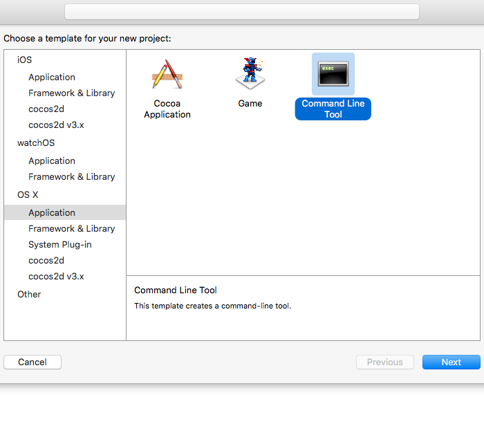Creating a Command Line Tool application in Xcode