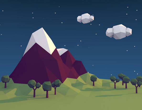 Modeling a low polygon scene