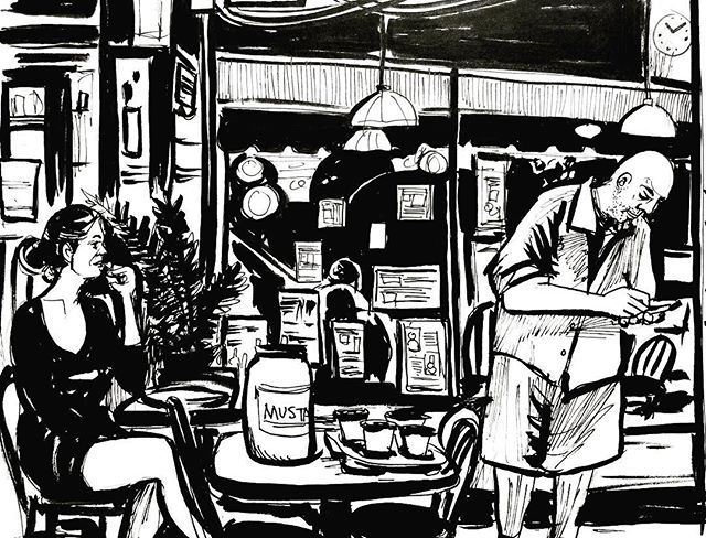 Day 13. #inktober #inktober2017 #sketchbook #sketch #ink #inkdrawing #illustration #drawing #thumbnail #wip #diner #nyc #inkandbrush #blackandwhite