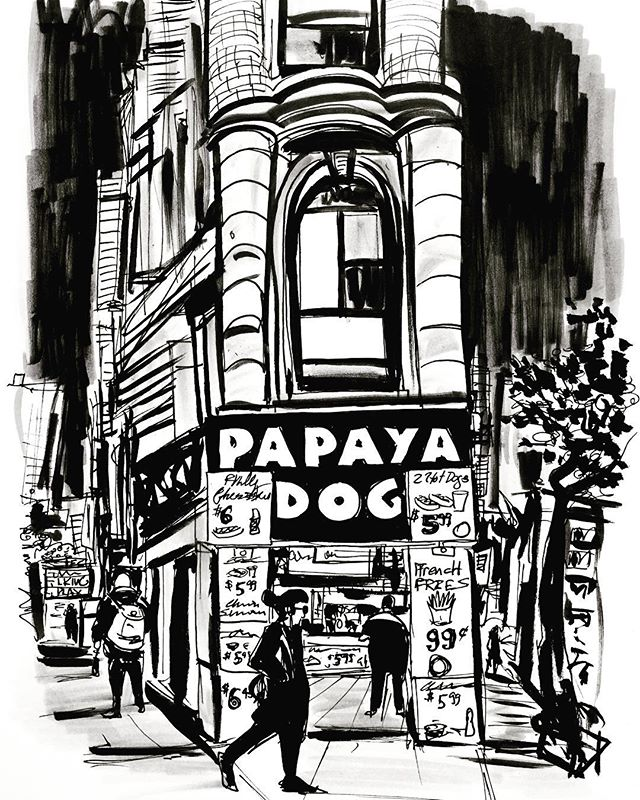 Day 20. #sketchbook #sketch #drawing #illustration #ink #inktober #inktober2017 #nyc #inkdrawing #urban #papayadog #village #inkonpaper #inkandbrush #paper #hotdog #streets #urbansketch