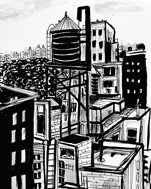 Day 26. Rooftops. #nyc #inktober #inktober2017 #sketchbook #sketch #drawing #illustration #urbansketch #ink #inkonpaper #inkandpen #inkandbrush