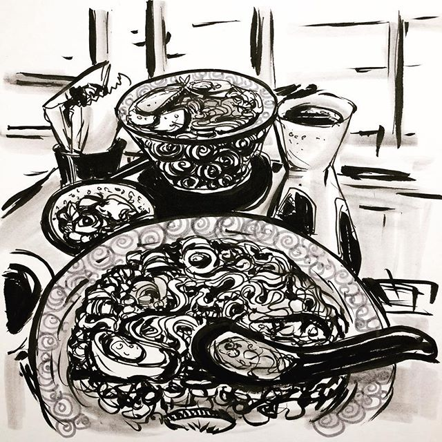 Day 27. #inktober #inktober2017 #sketchbook #sketch #ramen third attempt at ramen drawing.  #drawing #inkandpen #inkandbrush #artagram