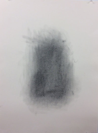 Invisible line drawing (two rectangles) , 2015. carbon on paper, 30 x 22 inches.
