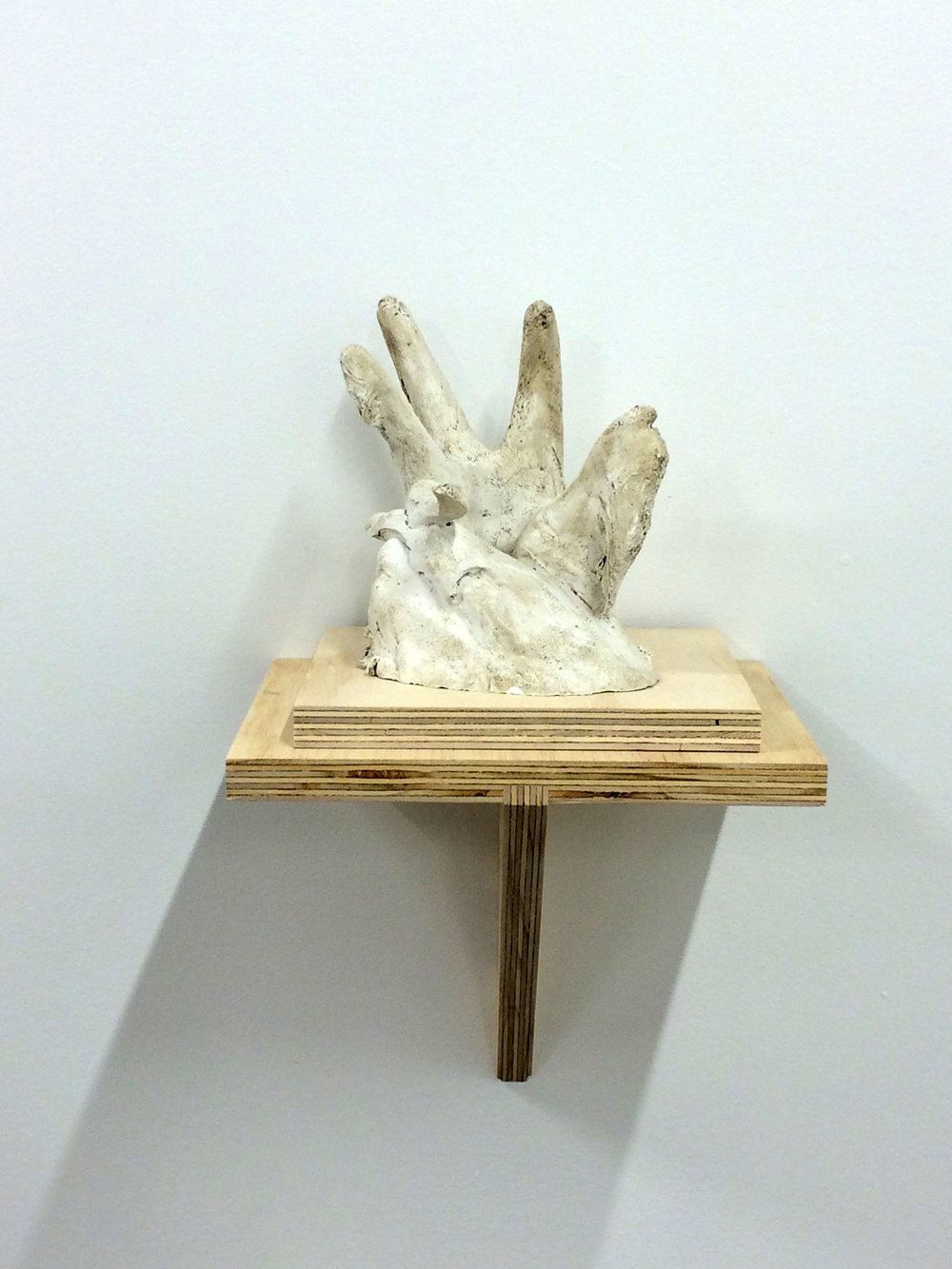 "Hand No.2, 2015. Plaster and plywood, 17x8.5x9""."