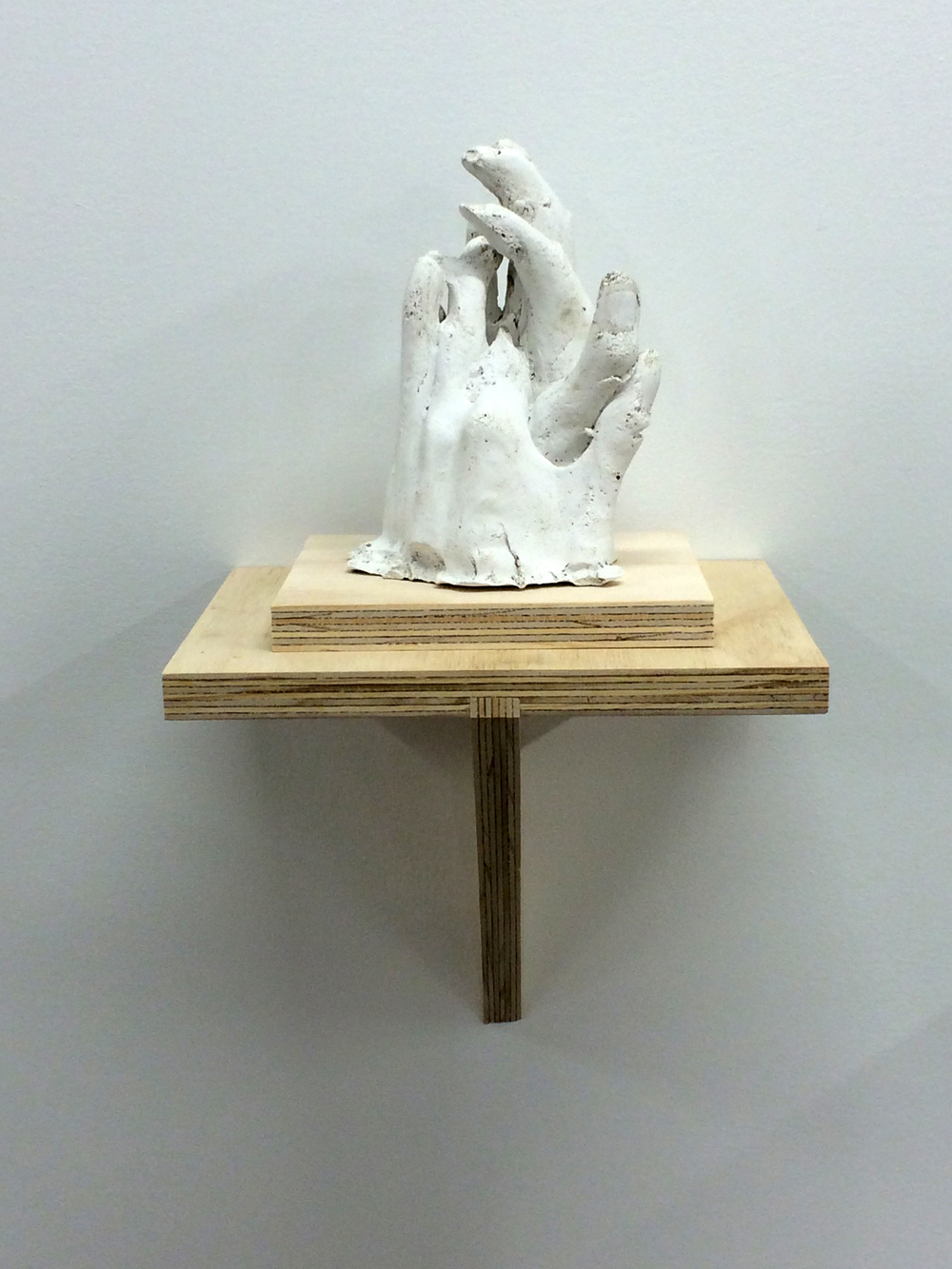 "Hand No.4, 2015. Plaster and plywood, 17x8.5x9""."