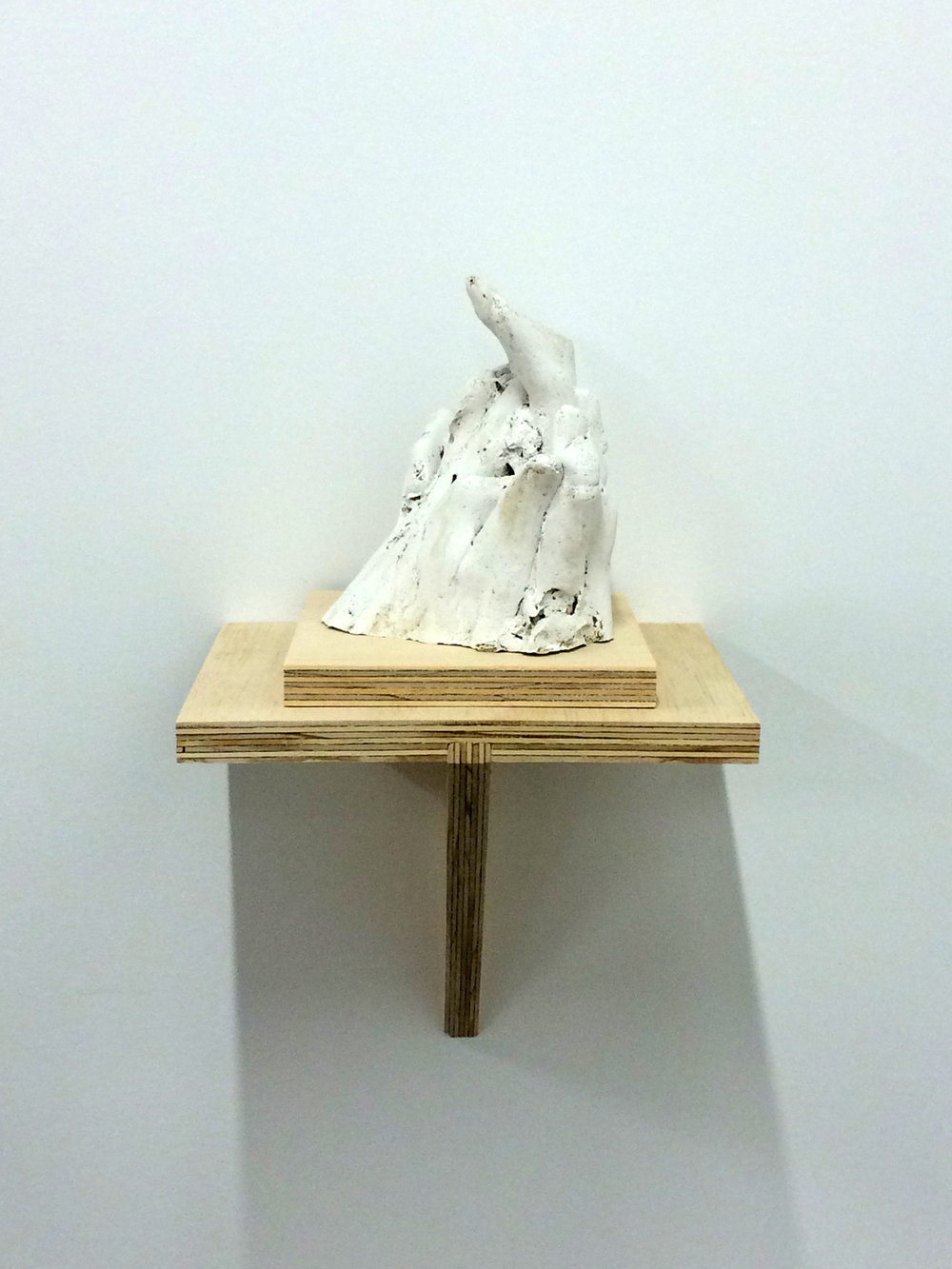 "Hand No.6, 2015. Plaster and plywood, 17x8.5x9""."