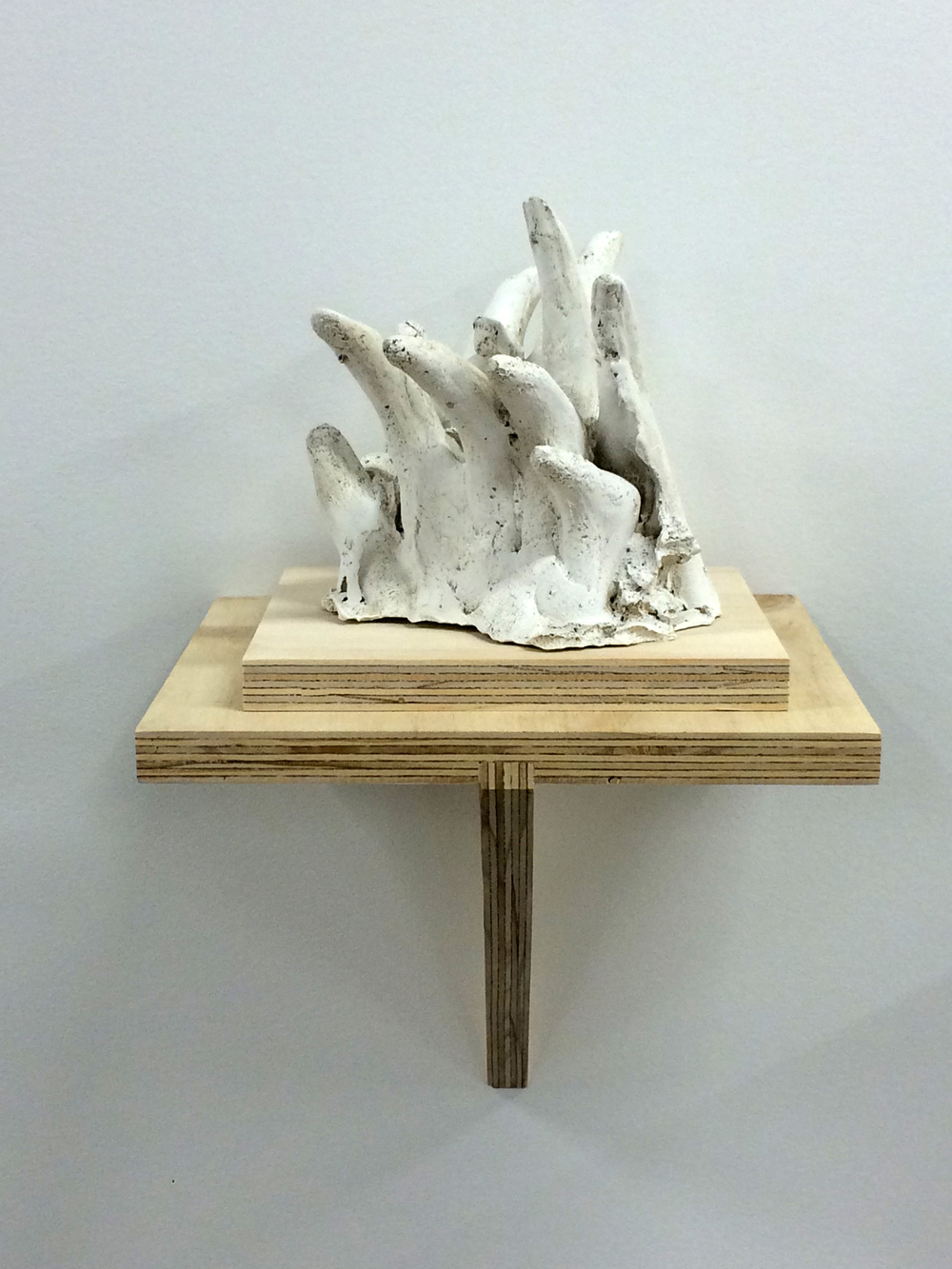 "Hand No.5, 2015. Plaster and plywood, 17x8.5x9""."