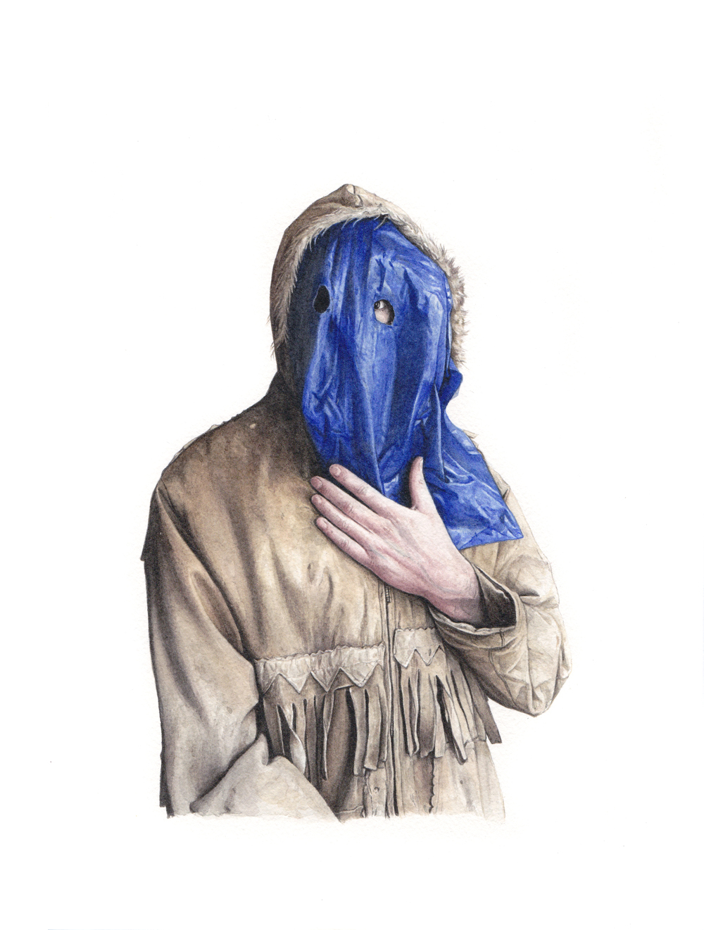 Opa's coat and tarp, 2015. watercolour on paper, 12x9