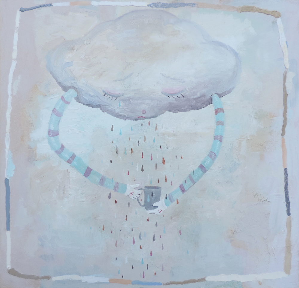 Coffee Cloud, 2016. oil and acrylic on canvas, 26 x 26 inches