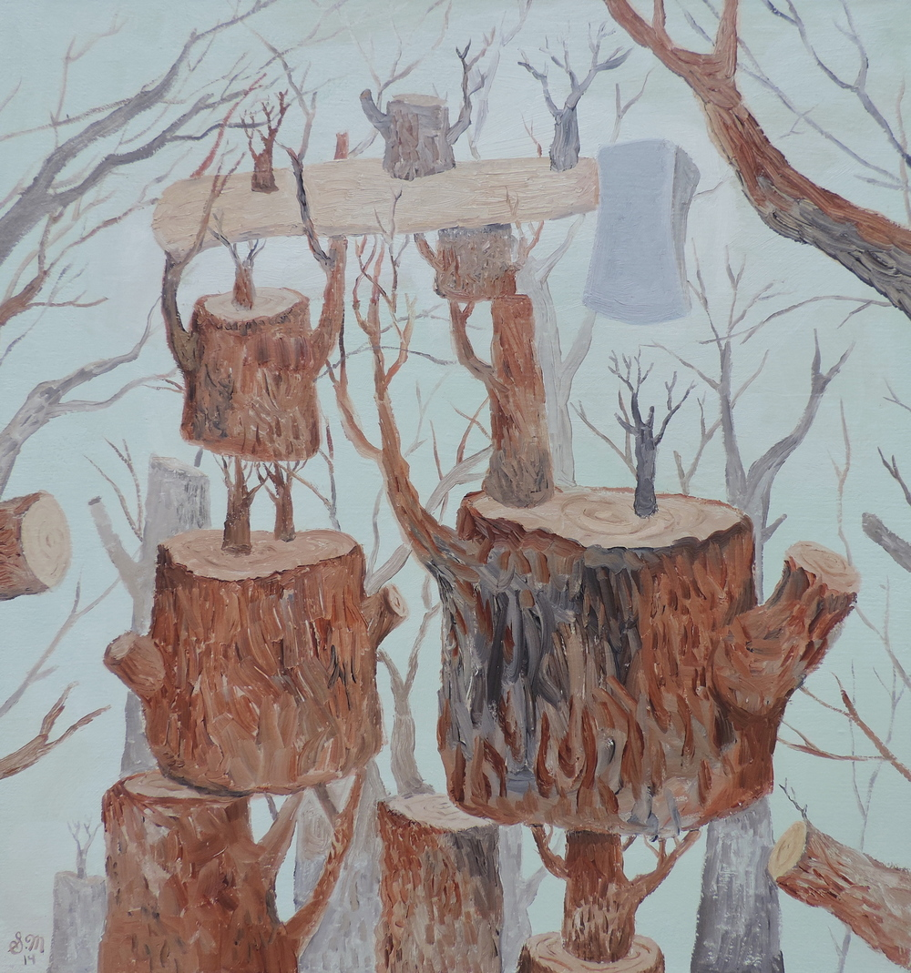 Woodstumps, 2014. oil on canvas, 18.5 x 19.5 inches
