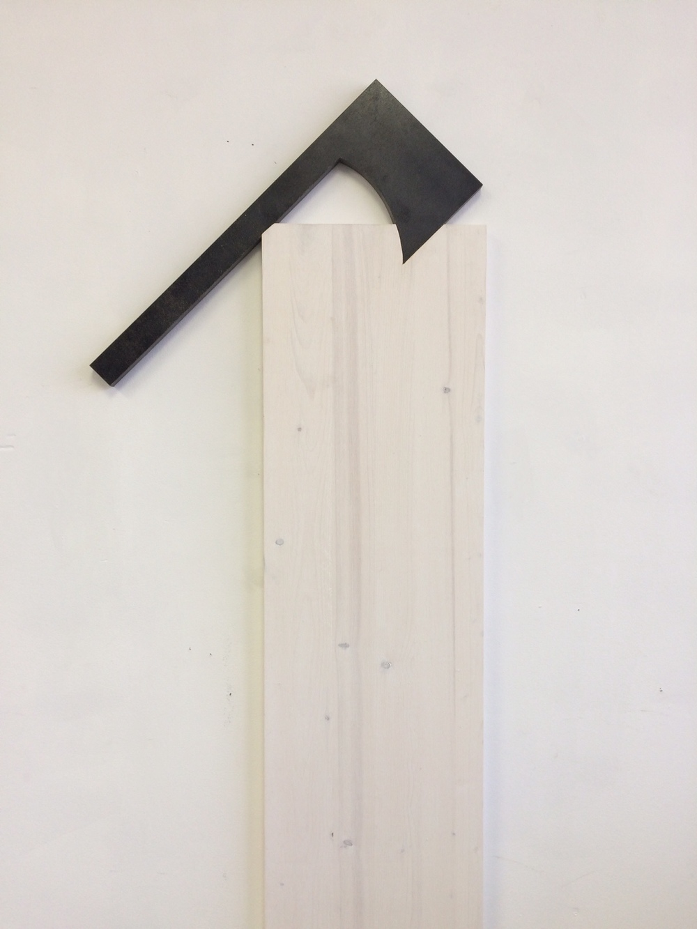 Untitled (hatchet), 2016. Steel, wood, stain, 41.5 x 15.75 x .75 inches (sold)