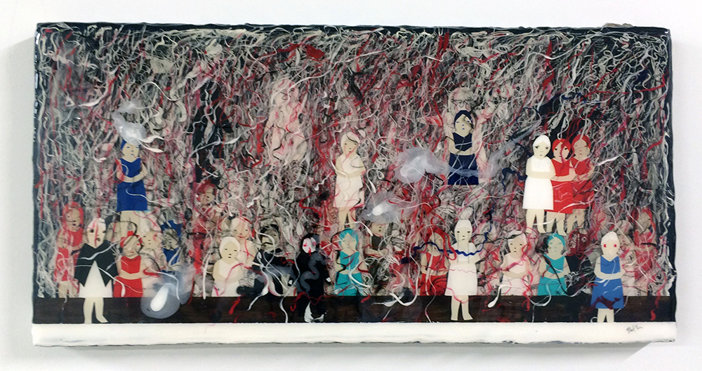 Red Dress, 2016. Acrylic pouring medium, acrylic paint, collage and pen on panel, 10 x 20 inches