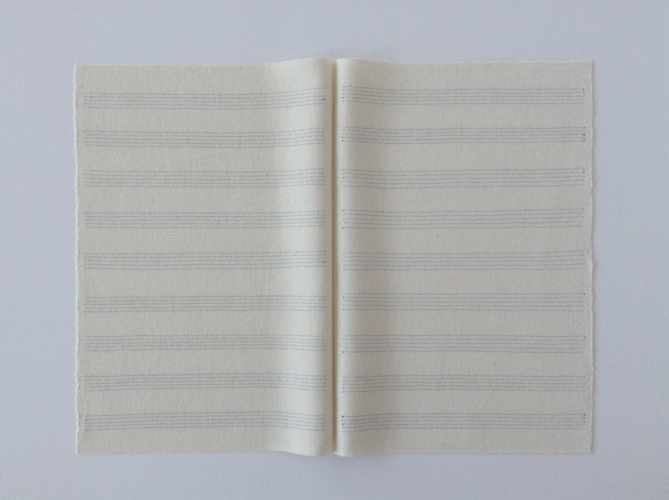 Kristin Nelson, Manuscript, 2016. Woven cotton, 18 x 24 inches.
