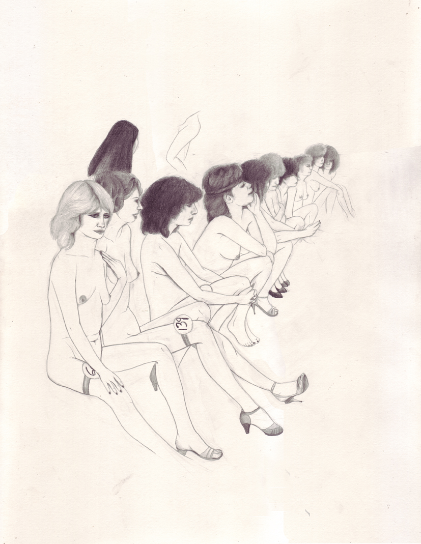 Erica Eyres, Line Up, 2015. Pencil on paper, 14 x 11 inches.