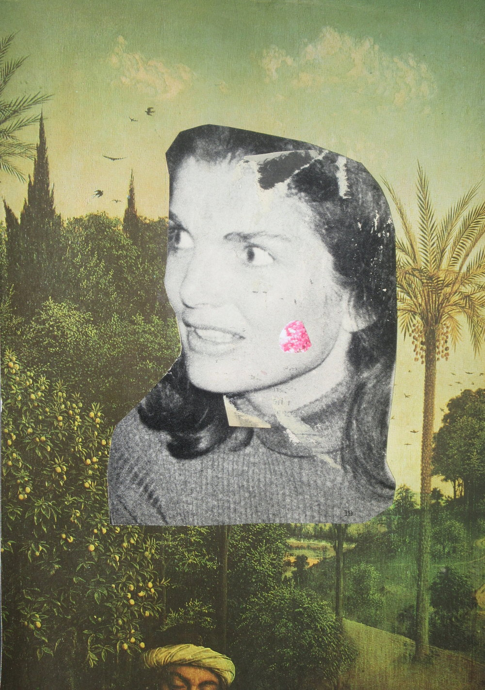Guy Maddin, Untitled (Jackie), 2016. Collage on paper, 10 x 8 inches