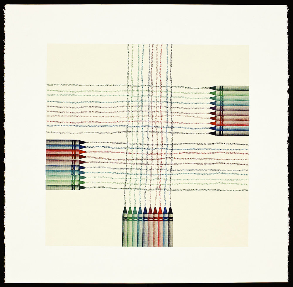 "Crayons (Weaving), 2016. Screenprint (monoprint).  Image size: 16"" x 16""; paper size: 20"" x 20""."