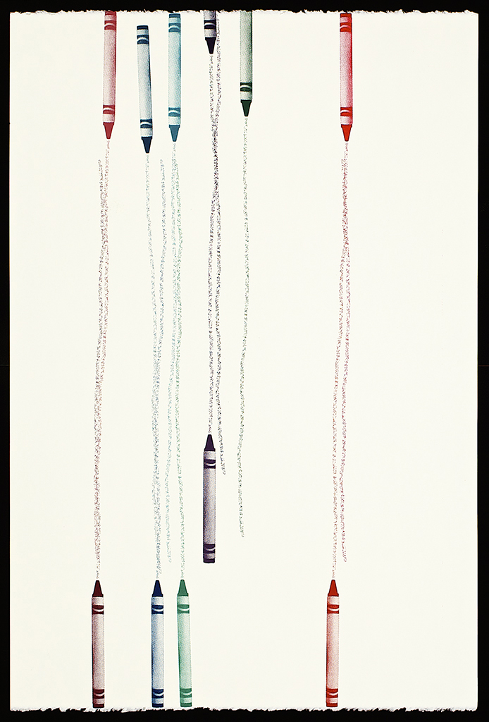 "Untitled Crayons (9), 2016.  Screenprint.  22"" x 15"".  Each print is one of a kind."