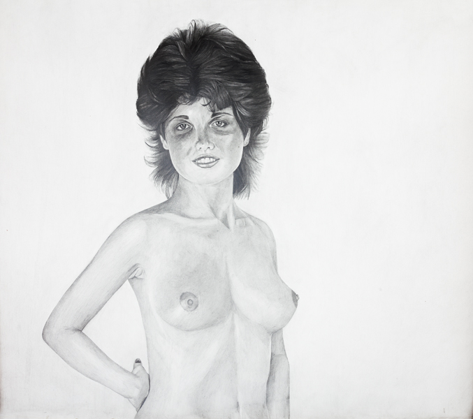 Erica Eyres, Woman, 2014, pencil on paper, 47.5 x 37.5 inches