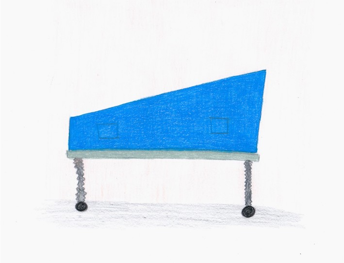 Sherry Walchuk, Perspective Gurney Cover, 2013. Pencil crayon on paper, 11.5 x 8 inches