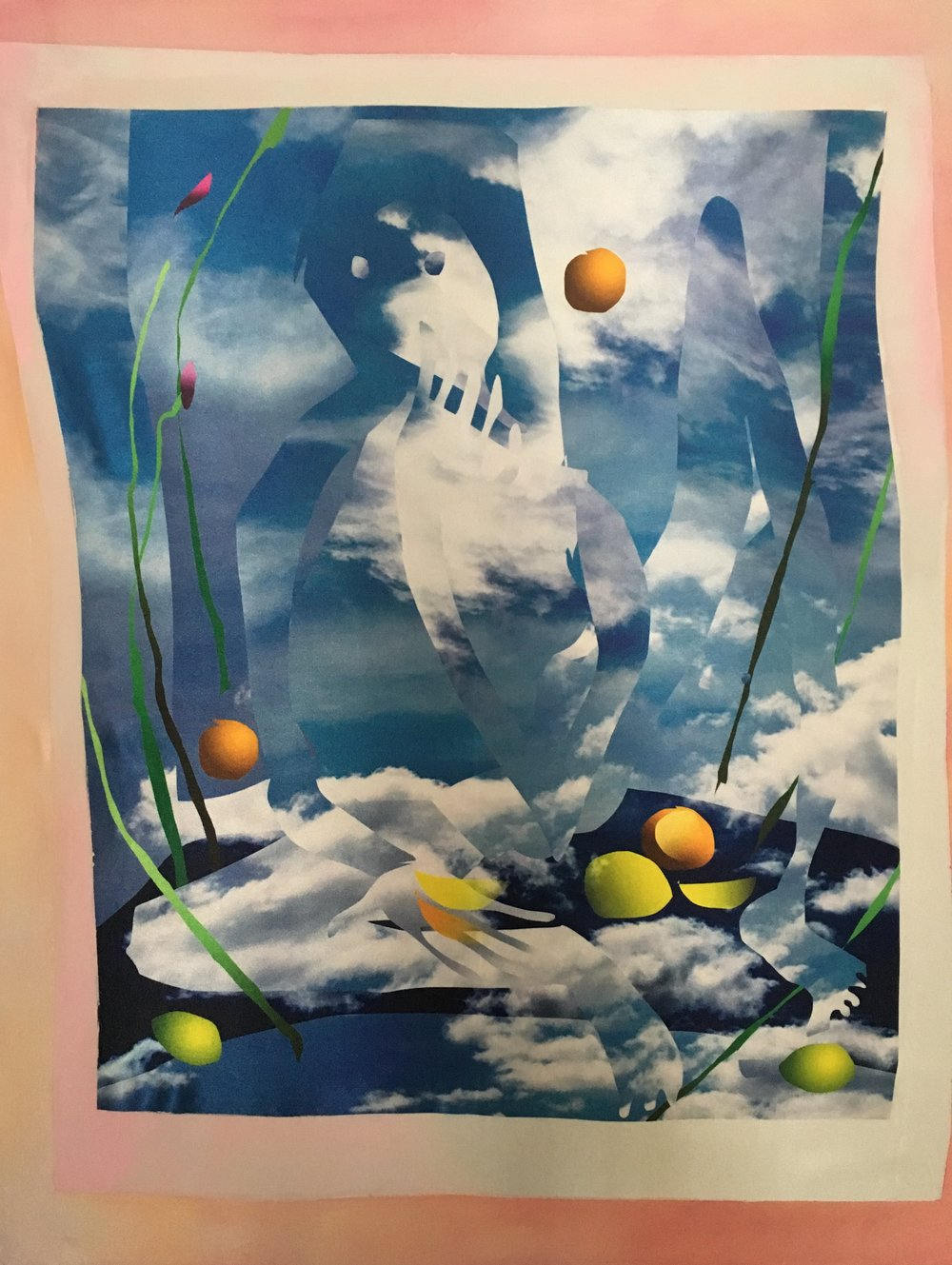 Rosalind Breen,  Picnic , 2017, Digital collage printed on silk with acrylic, 20 x 30 inches