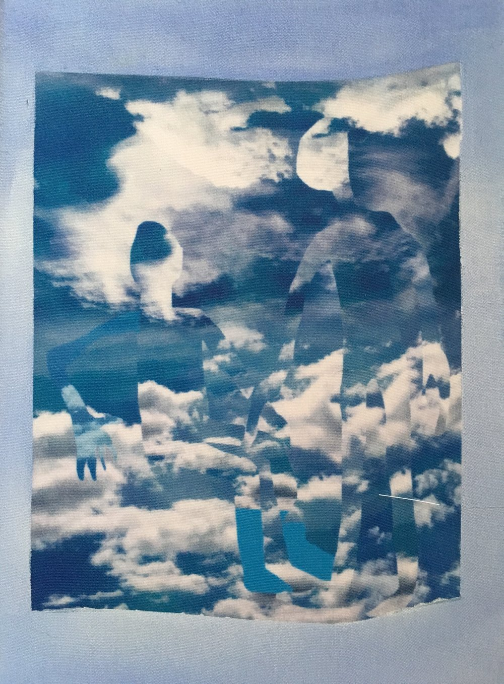 Rosalind Breen,  Team 2 , 2017, Digital collage printed on silk with acrylic, 12 x 16 inches