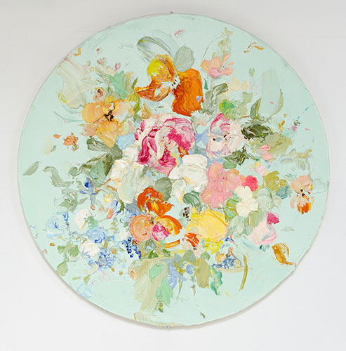 "Tess Michalik, I feel with my eyes, 2017. oil on panel, 16"" diameter."