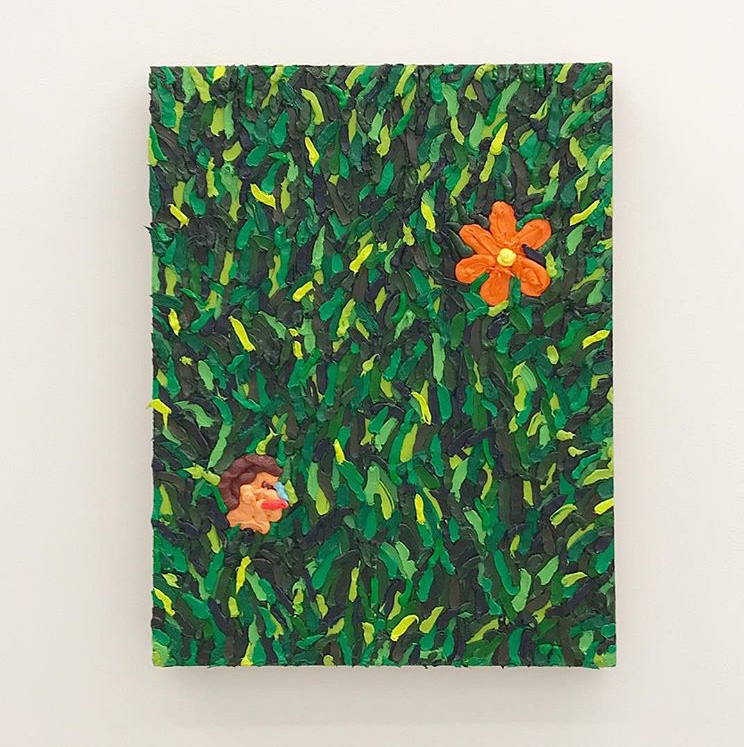 Adam Beris, Prospect Park Study, 2018. Oil, acrylic, googly eye on linen, 24 x 18 x 3 inches