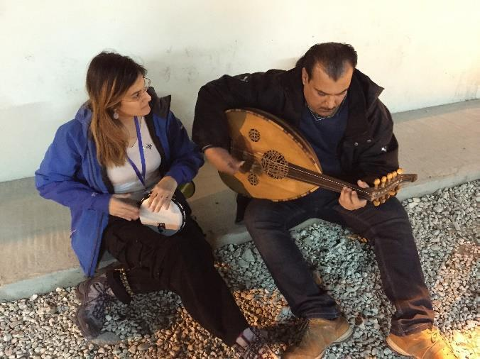 Tal with oud player, Abu el'shams, who fled Iraq