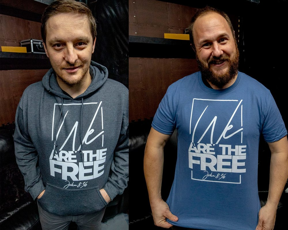 LEFT: Men's Charcoal (t-shirts only) RIGHT: Men's Blue