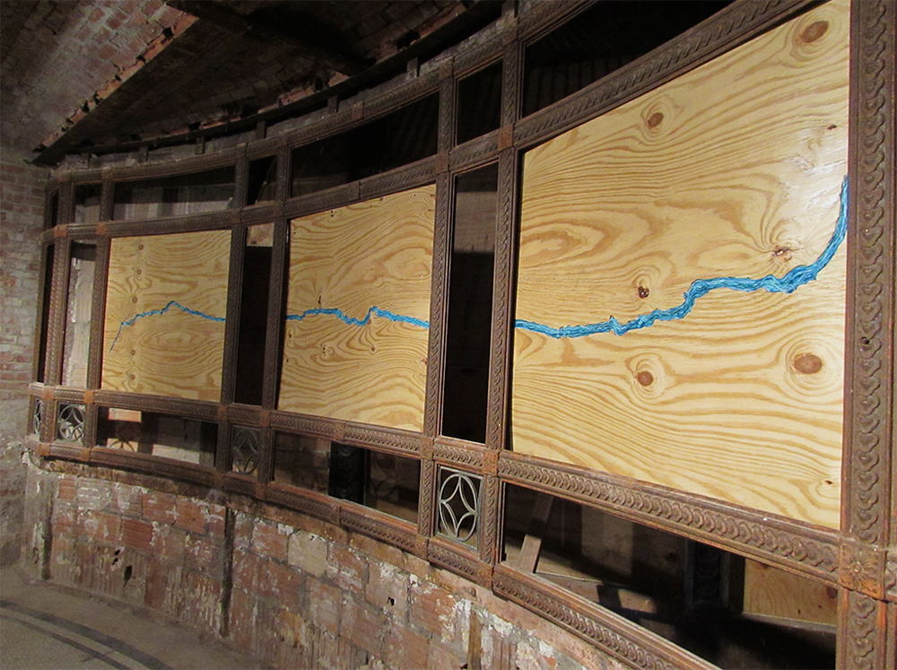 The Bronx River, 2105 thread embroidered on plywood. 3 panels, 4ft each