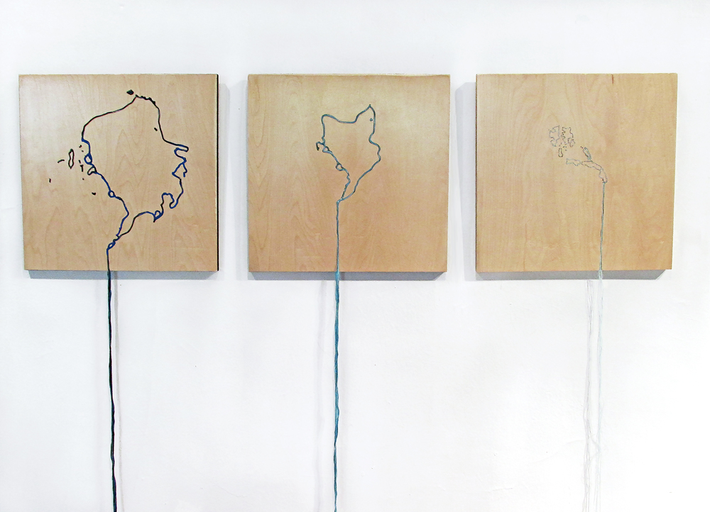 "The Arctic Meltdown, 1982 | 2011 | 2035, 15.5"" x 15.5""x 48"", Embroidered Plywood, 2016."
