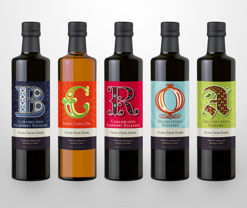 I designed five labels in all. Each flavour of oil or vinegar is represent with a letter.