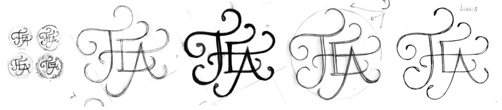 Sketch progression of the swashed TEA lettering