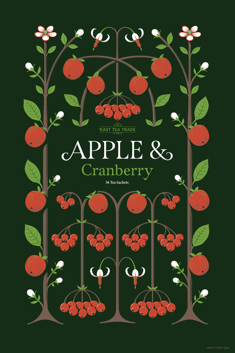 Apple and Cranberry design. Cranberry flowers have a beautiful and distinct shape which worked really well in the limited colour palette