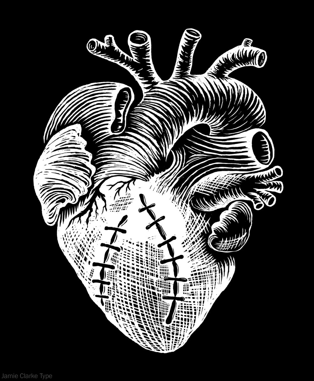 Stylised, black and white heart sketch with stitches.