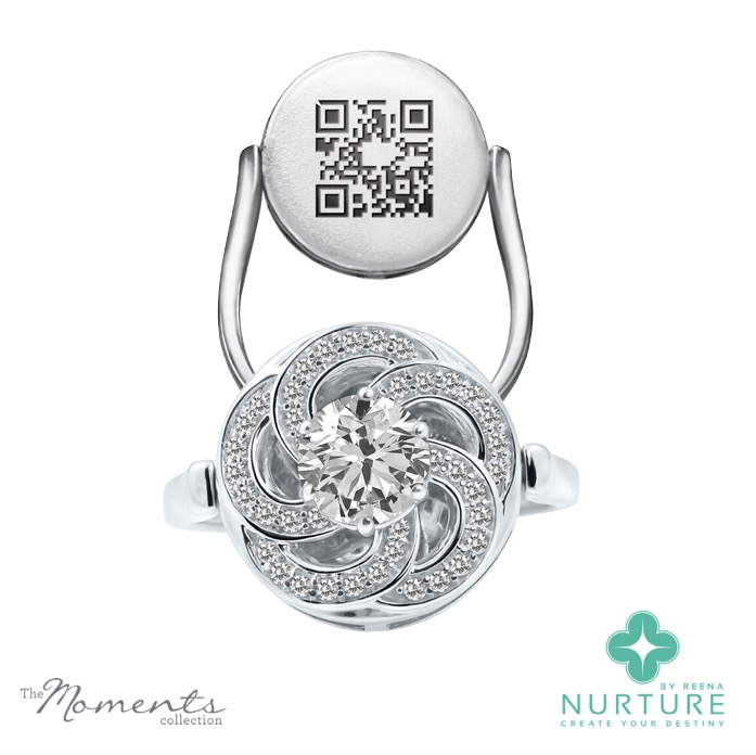 Wildflower ring_NurtureByReena_ReenaAhluwalia_White gold_Colorless lab-grown diamond