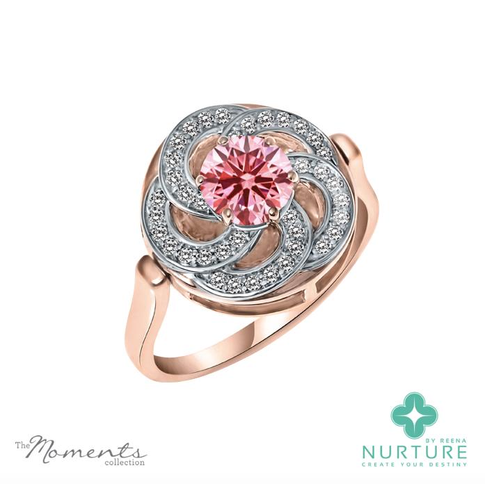 Wildflower ring_Rose Gold_NurtureByReena_ReenaAhluwalia_Pink Lab grown diamond1