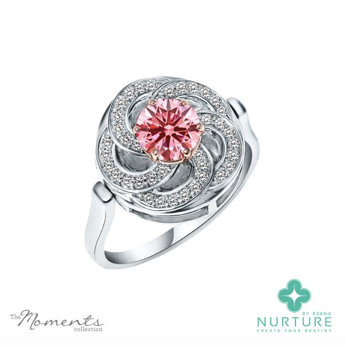 Wildflower ring_White gold_NurtureByReena_Reena Ahluwalia_Pink lab grown diamond