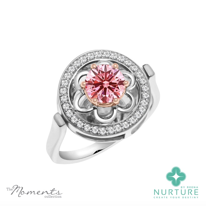 Blossom halo ring_NurtureByreena_Reena Ahluwalia_Pink lab-grown diamond 1