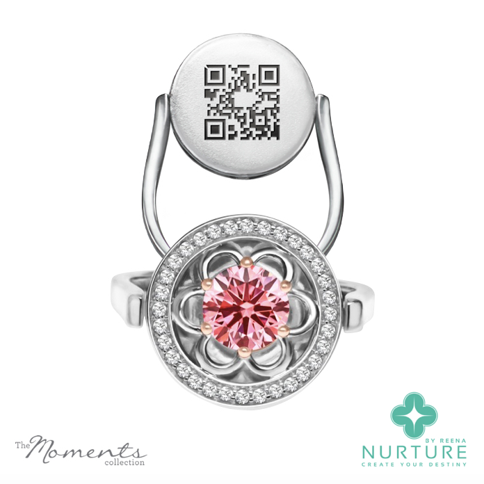 Blossom Halo ring_NurtureByReena_ReenaAhluwalia_Pink lab-grown diamond