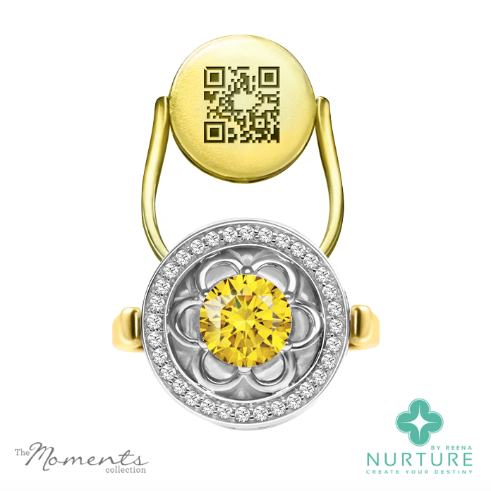Blossom halo ring_NurtureByreena_ReenaAhluwalia_Yellow lab-grown diamond