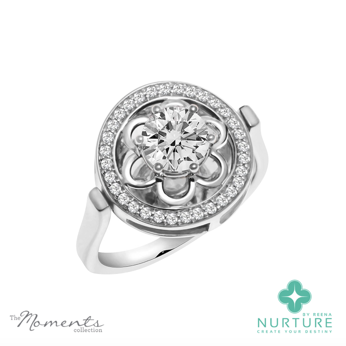 Blossom Halo ring_NurtureByReena_Reena Ahluwalia_Colorless Lab-grown diamond 1