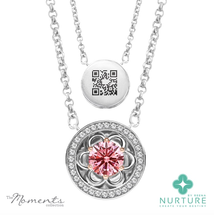 Blossom Halo pendant_NurtureByReena_ReenaAhluwalia_Pink Lab grown diamond
