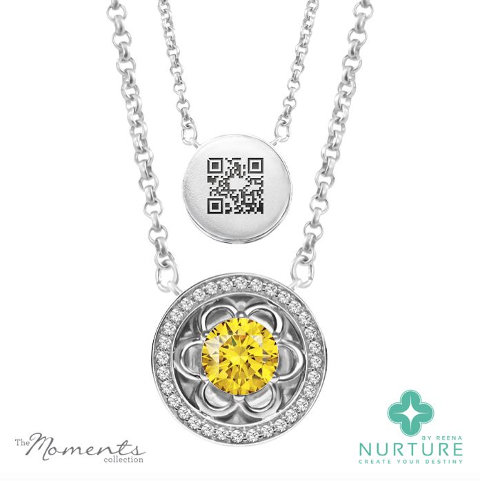 Blossom Halo pendant_Yellow lab grown diamond_Reena Ahluwalia_NurtureByReena