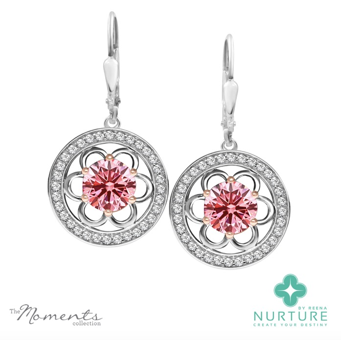 Blossom Halo earrings_NurtureByReena_ReenaAhluwalia_Pink lab-grown diamonds